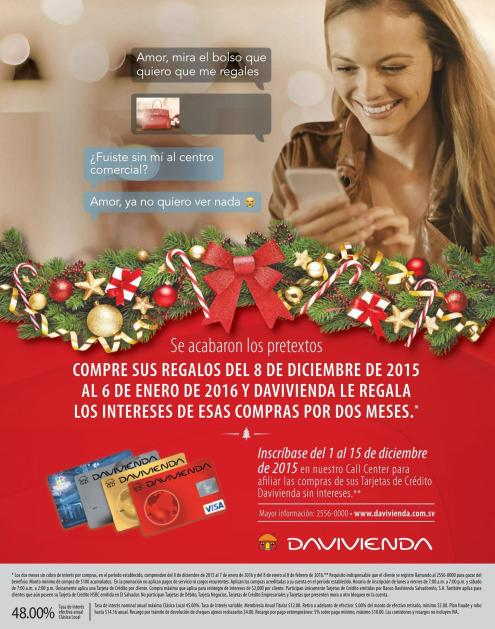 Compras tus regalos con tu tarjeta de credito de DAVIENDA y olvidate de los intereses