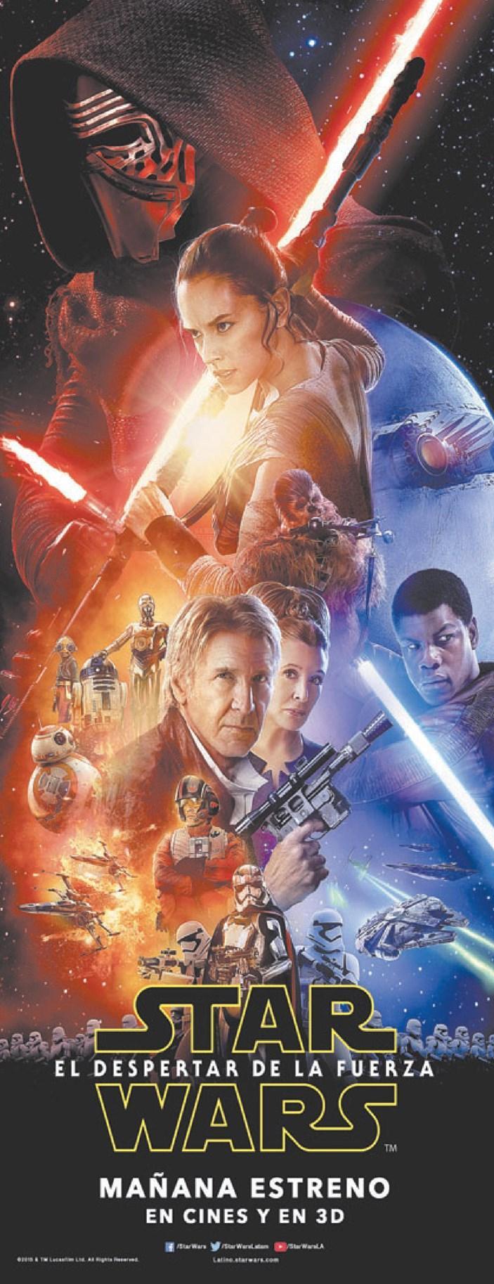 MAÑANA gran estreno mundial de STAR WARS el despetar de la fuerza