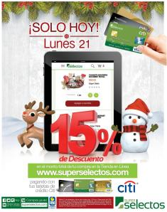 Super Selectos online 15 OFF only TODAY con CITI cards