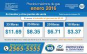 Precios maximos de gas en el salvador ENERO 2016