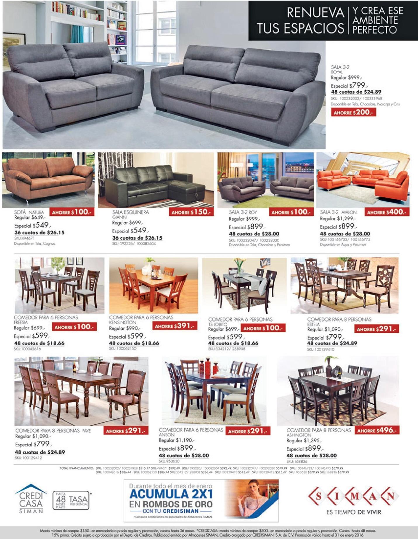 SIMAN ofertas de muebles y comedores enero 2016 - Ofertas Ahora