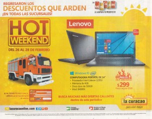 LA CURACAO Computadora portatil LENOVO 299 en hot weekend 2016