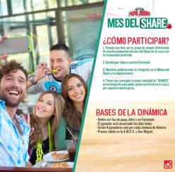 Participa en el MES DEL SHARE gracias a PAPA JONHS pizza