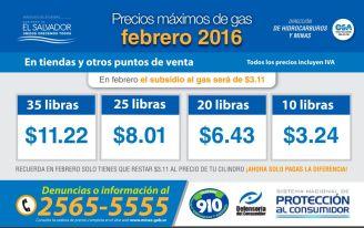 Precios maximos del GAS en el salvador FEBRERO 2016