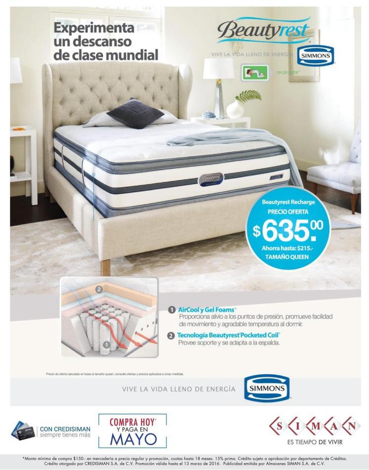 SIMAN ofertas en camas SIMMONS Air cool GEAM FOAMS - 29feb16