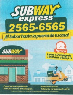 SUBWAY EXPRESS servicio a domicilio el salvador