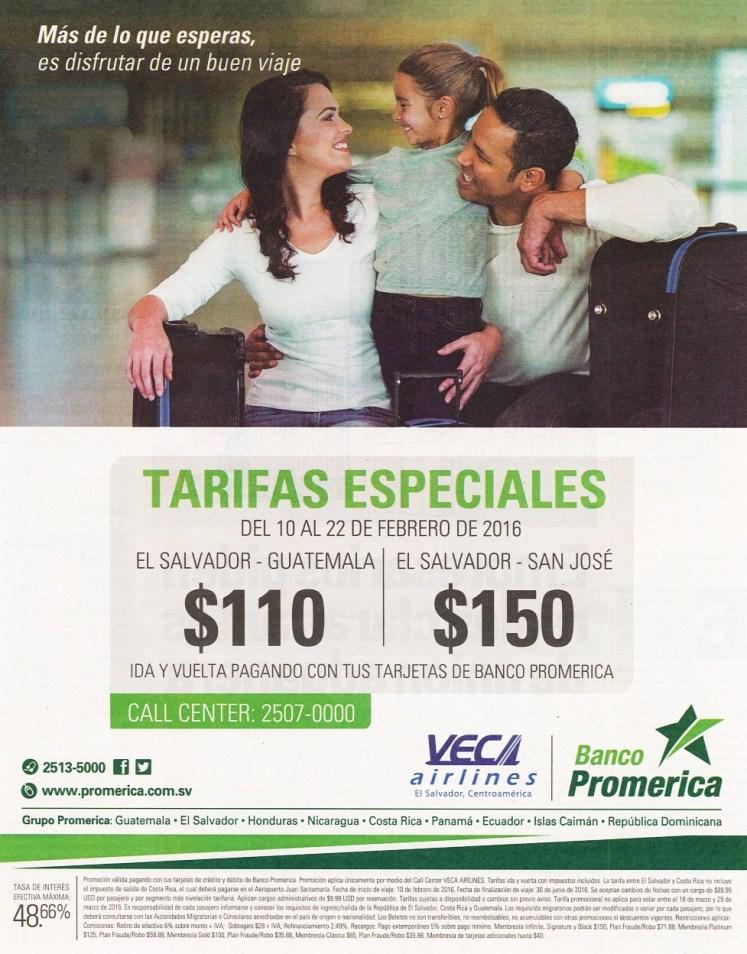 Tarifas especial en el mes del amor VECA AIRLINES via banco promerica