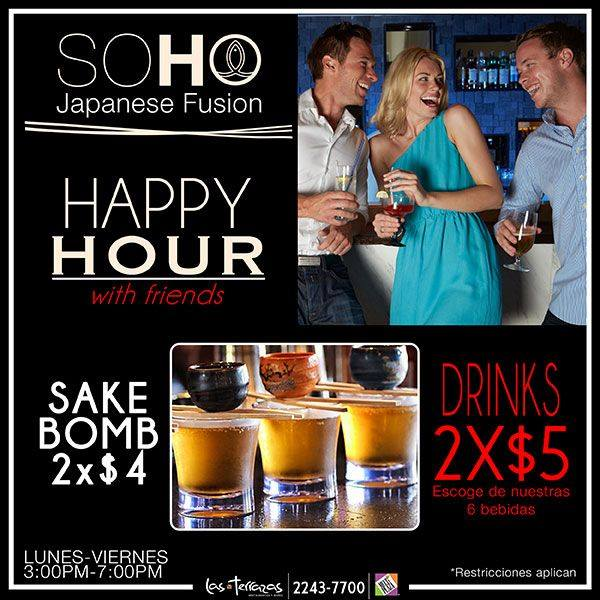 happy hours with SOHO drinks buscalos en MULTIPLAZA