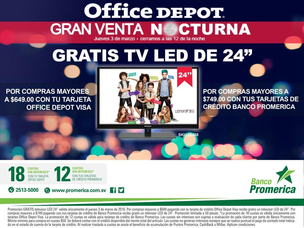 AHORA gratis TV led de 24 pulgadas en OFFICE DEPOT - 03mar16