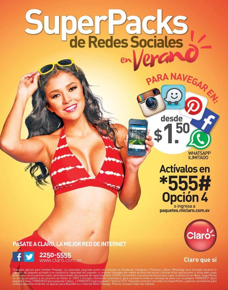 CLARO promociones Super packs de redes sociales en VERANO 2016