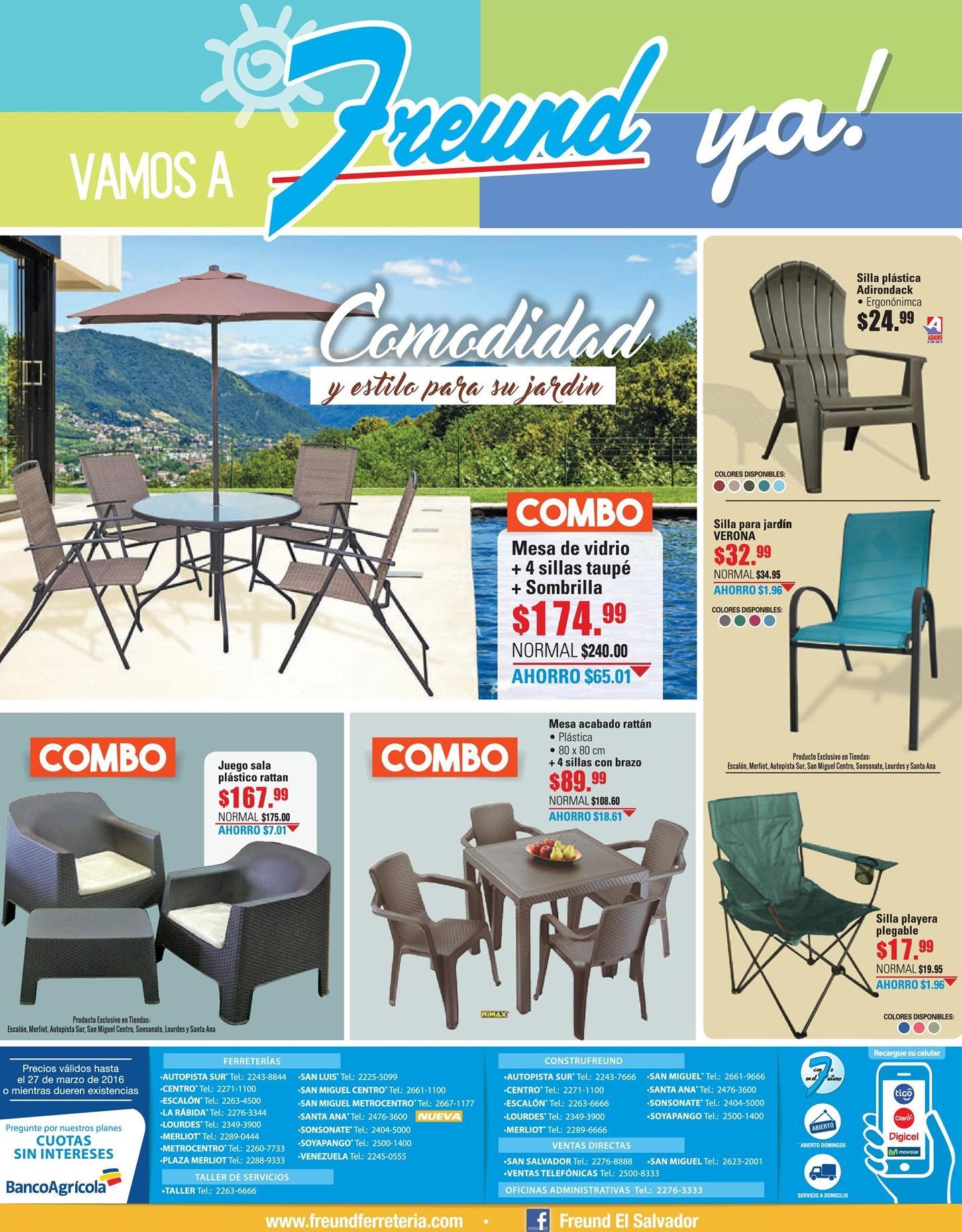 Combos de muebles de jardin freund vacaciones 18mar16 for Muebles de jardin online ofertas