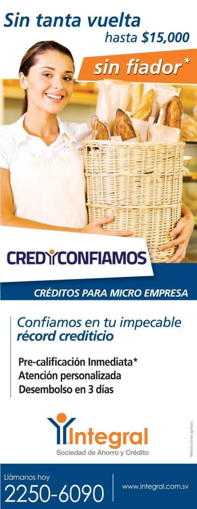 Credito rapidos para micro empresas hasta 15 mil dolares sin fiador