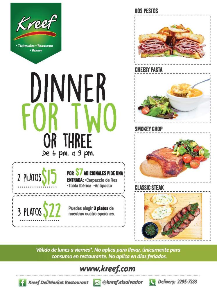 DINNER promotion for two and three KREEF restaurante