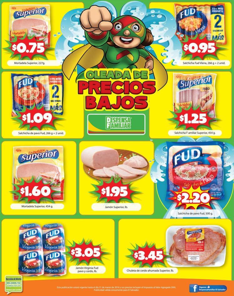 Jamones Emnutidos salchichas con precio bajo despensa familiar - 18mar16