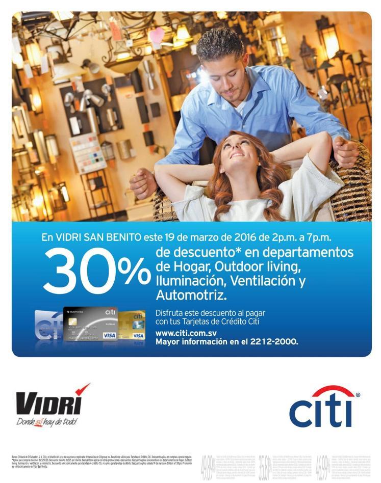 VIDRI Detalles del hogar y outdoor living 30 OFF gracias a CITI - 19mar16