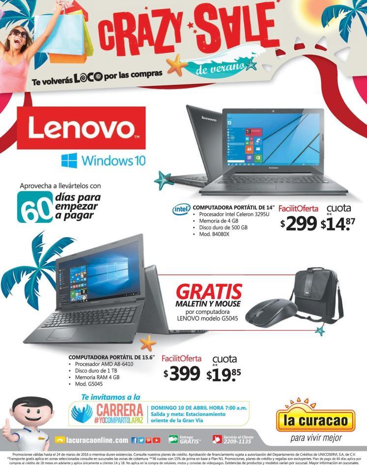 summer CRAZY SALE en computadoras LENOVO gracias a LA CURACAO