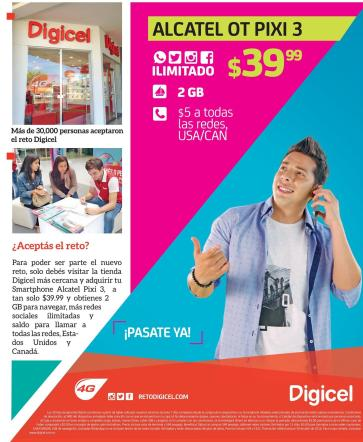 Alcatel OT PIXI 3 de DIGICEL barato y en la red 4g mas rapida