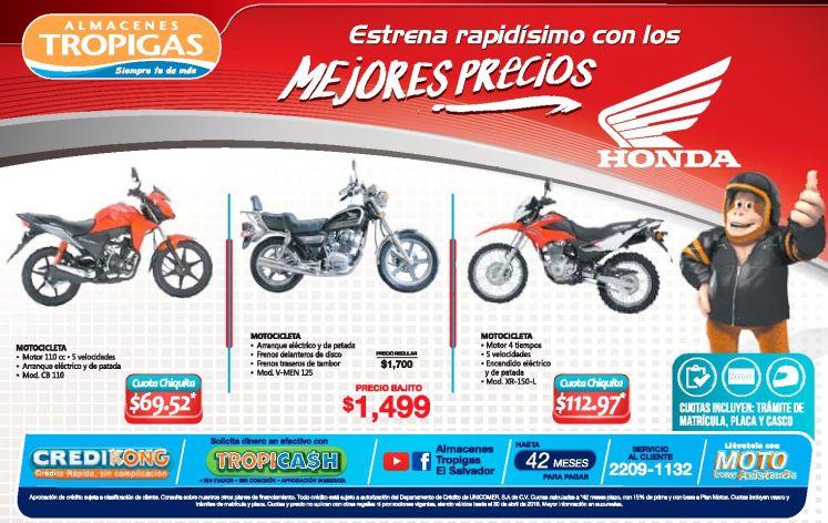 Almacenes Tropigas Estrena tu moto HONDA con los precios - 20abr16