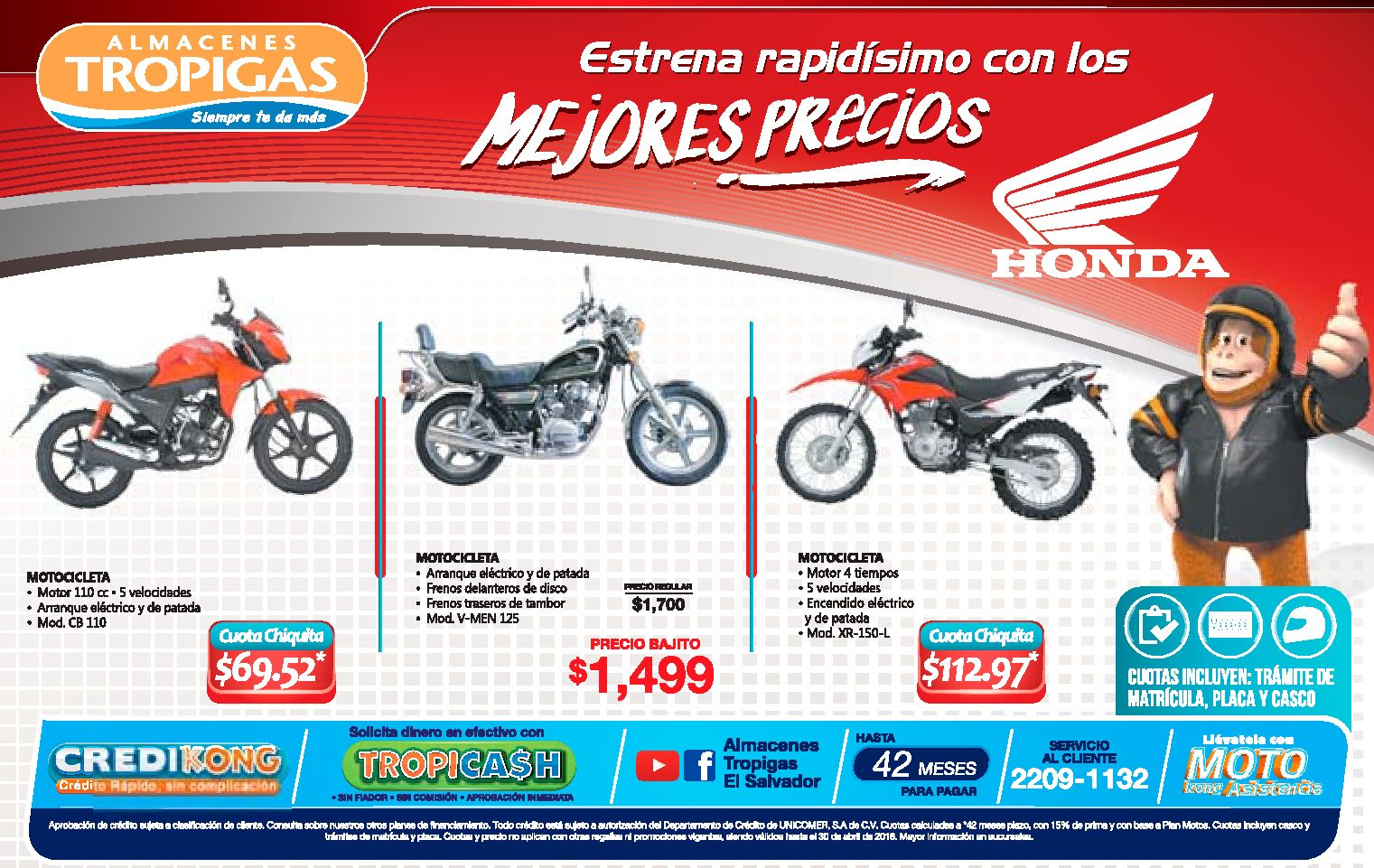 Almacenes Tropigas Estrena Tu Moto Honda Con Los Precios 20abr16