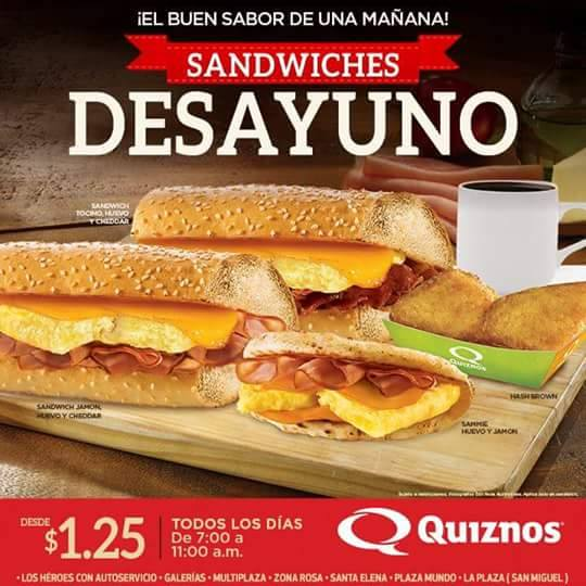 Desayuno con sandwich QUIZNOS desde 1_25 de dolar