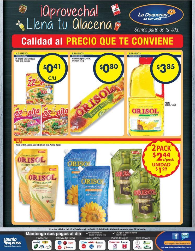Despensa de Don Juan Articulos de cocina y aceites con precio comodo - 15abr16
