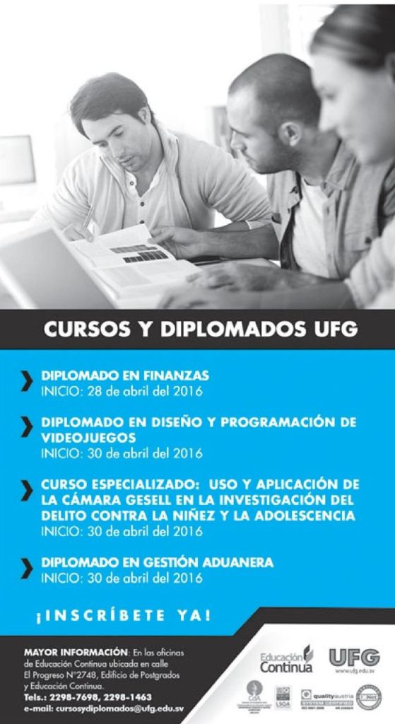 Diplomado en FInanzas en UNIVERSIDA francisco gavidia abril 2016