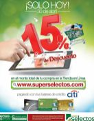 HOY descuento 15 OFF en tus compras online Super Selectos - 30abr16