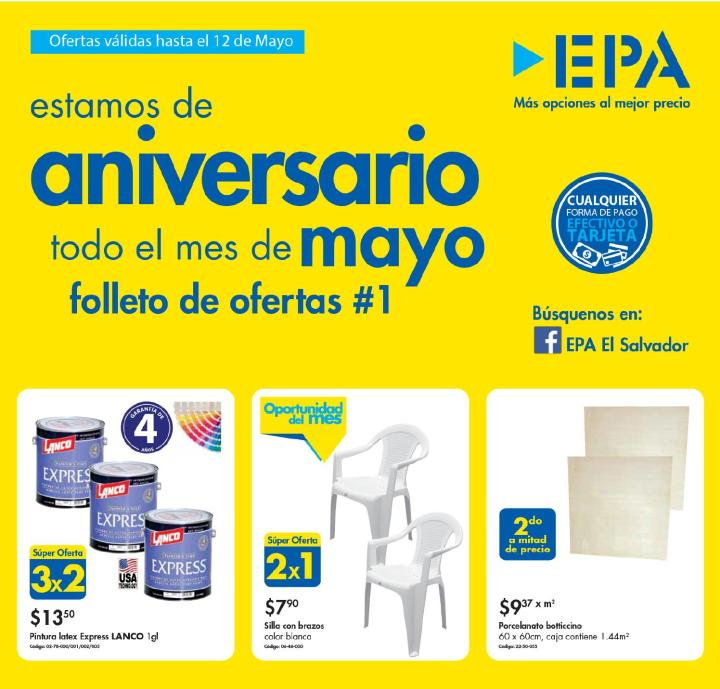 Ofertas de aniversario Ferreteria EPA el salvador MAYO 2016 folleto 1