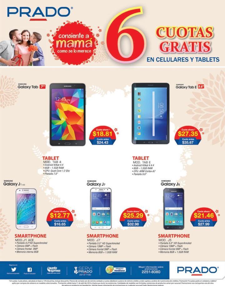 PRADO promocion 6 cuotas gratis en TABLETS y CELUARES