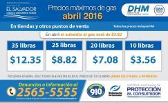Precios maximos del gas para ABRIL 2016 DHM