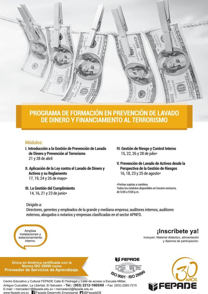 Programa de formacion en Lavado de dinero y activos