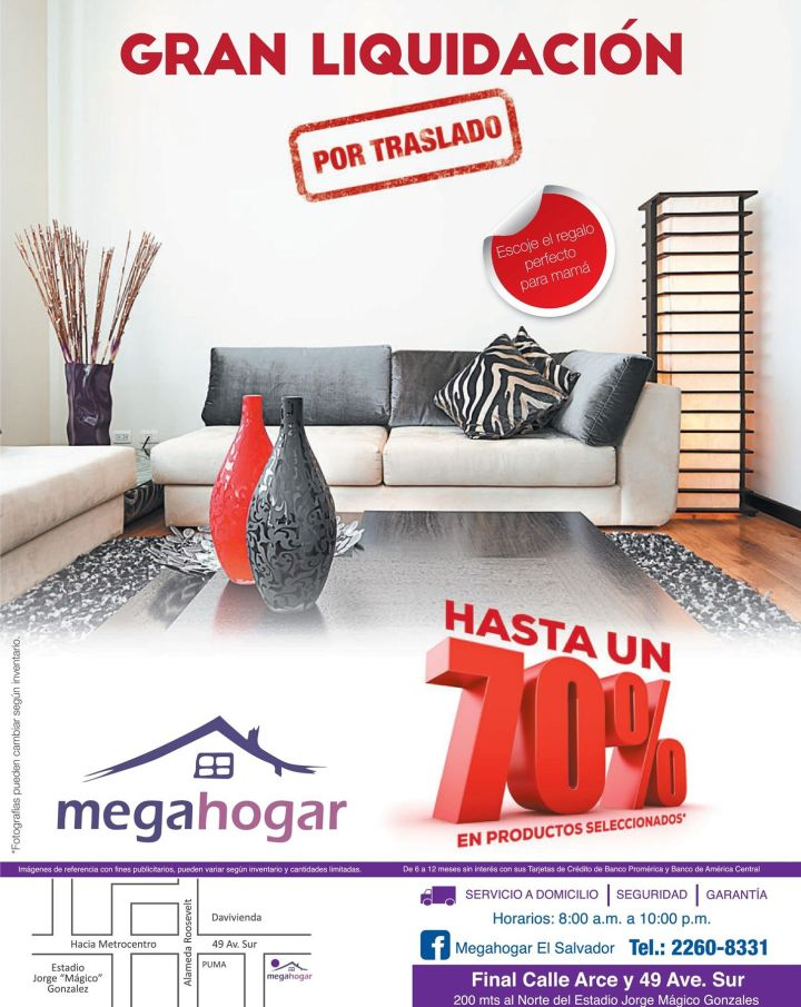 FURNITURE deals hasta 70 off en MEGAHOGAR el salvador