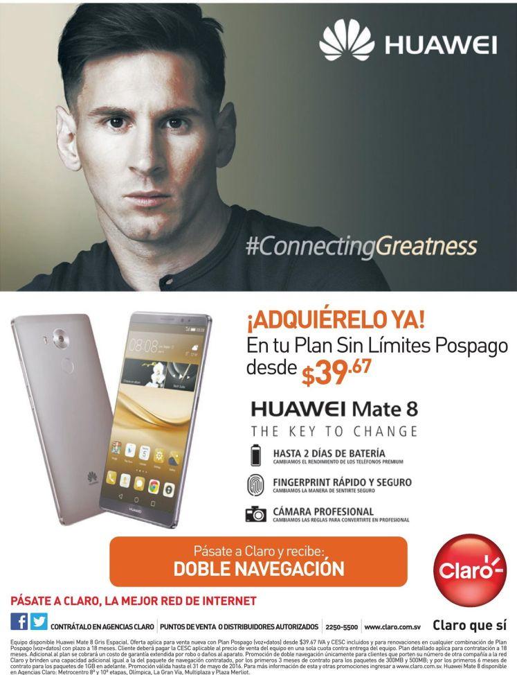 Plan CLARO de 39 dolares 67 centavos con smartphone HUAWEI Mate 8