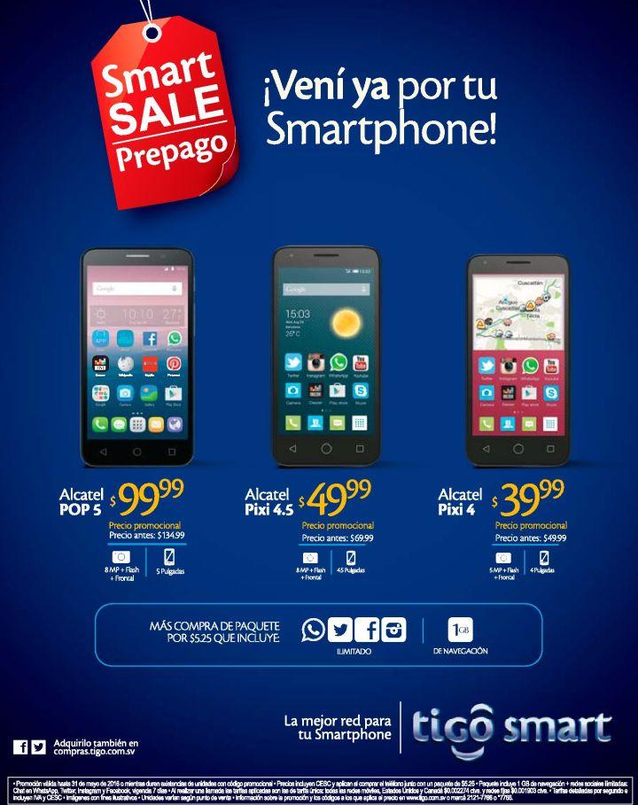 SMART sale prepago nuevas ofertas en celulares TIGO