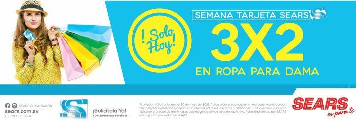 Semana de la tarjeta SEARS 3x2 en ropa para damas