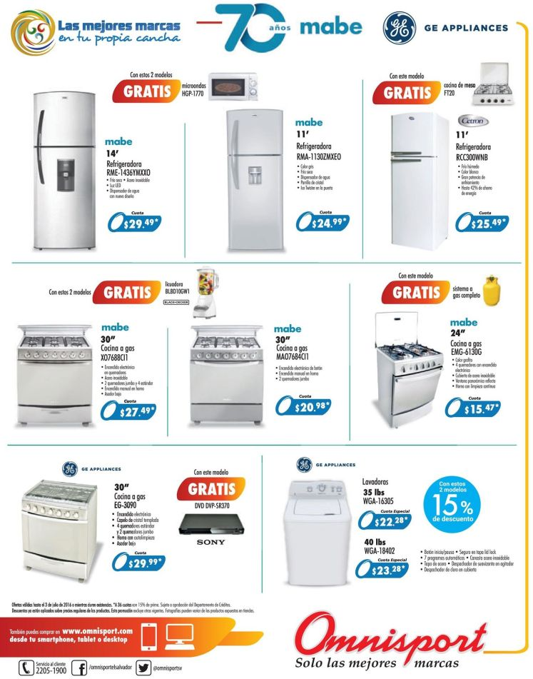 GE Appliances promotions OMNISPORT el salvador - 30jun16