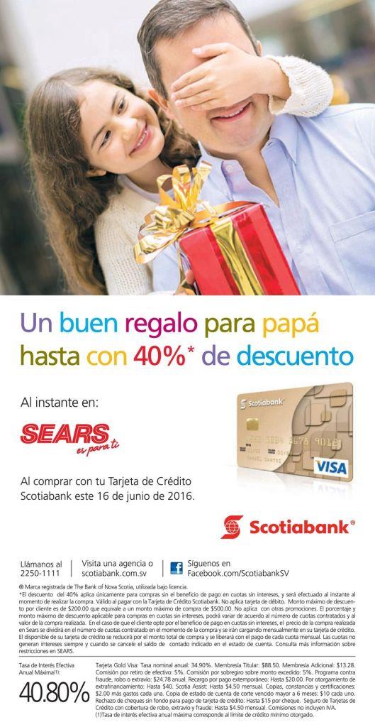 SEARS 40 off para el regalos del dia del padre 2016 con scotiabank