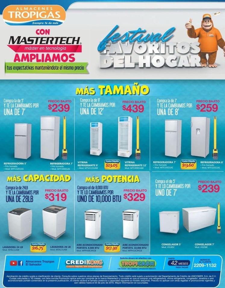 Los electrodomesticos favoritos del hogar con oferta TROPIGAS - Julio 2016