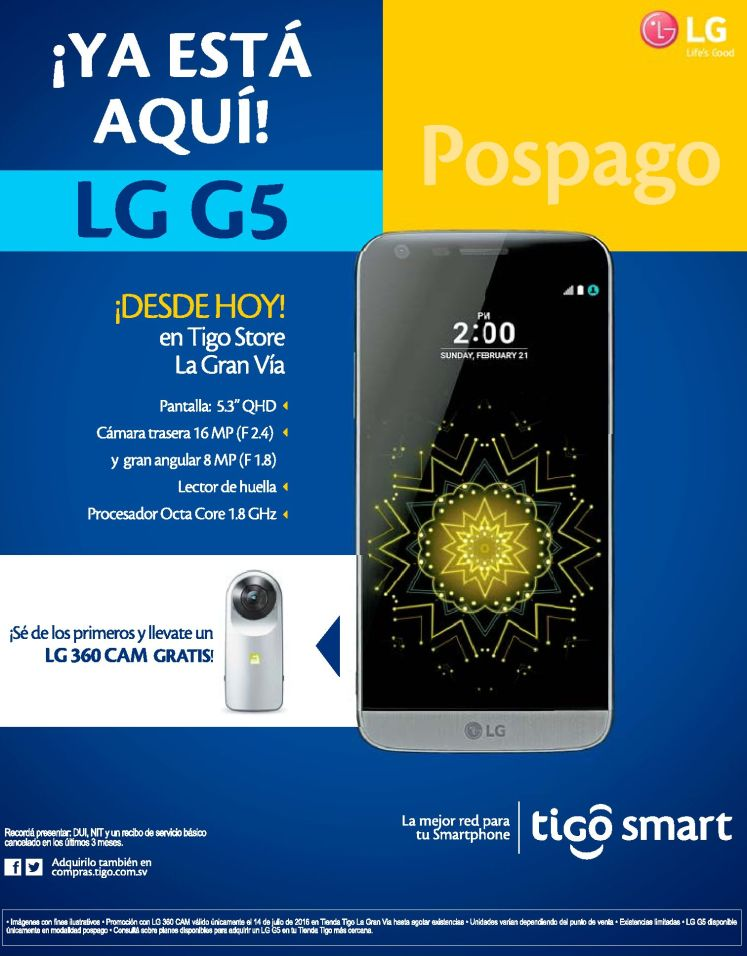 NEW smartphone LG G5 by tigo el salvador