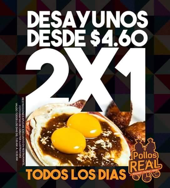 Promociones 2xz1 desayunos pollo real el salvador