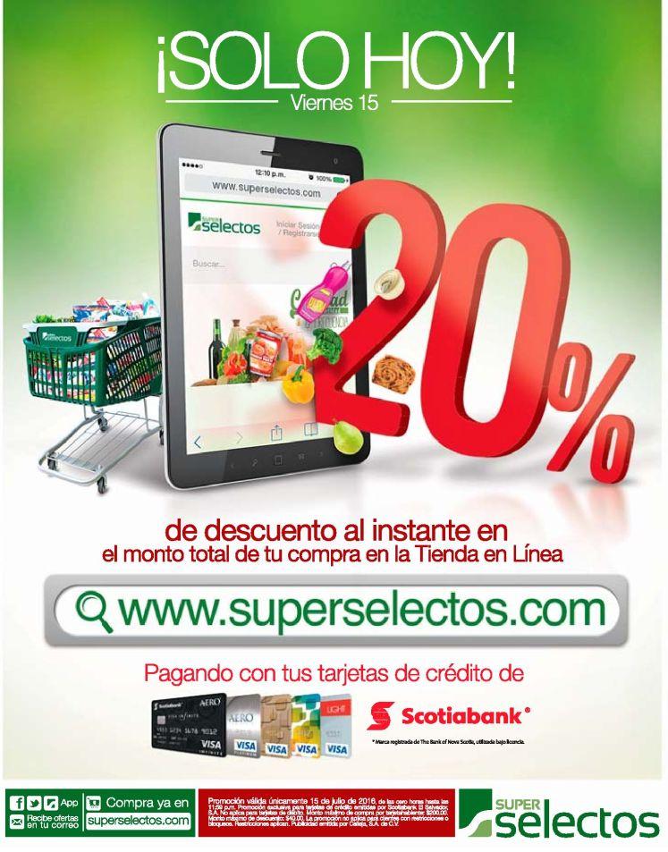 TODAY 20 off en compras online super selectos