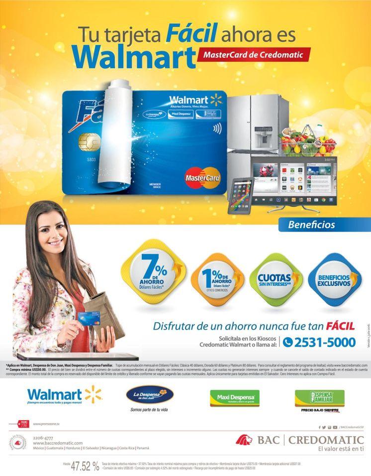nueva tarjeta de credito FACIL walmart con el respaldo BAC Credomatic