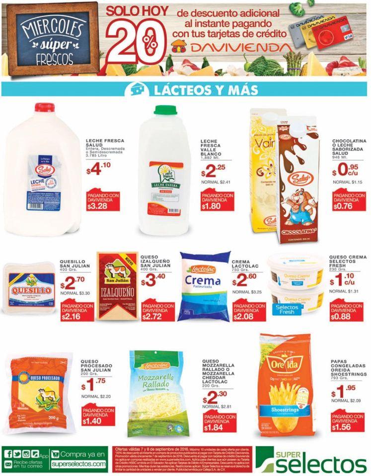 Descuentos en toda la variedad de quesos cremas leches SELECTOS - 07sep16
