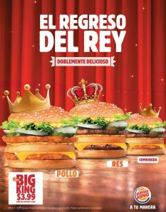 WELCOME back KING de POLLO y RES buscalas en BUrger King el salvador