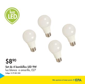 LUZ LED set de 4 bombillos de 9w en oferta