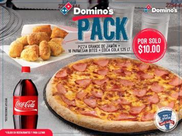 PIZZA dominos mas parmesan bites and coca cola