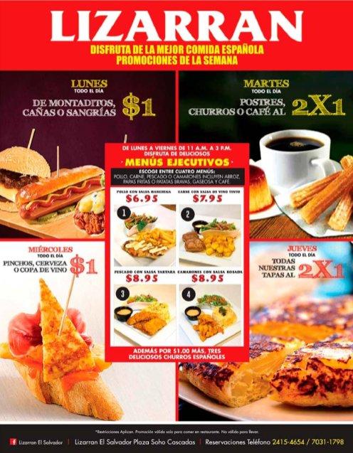 Restaurante de comida espanola LIZARRAN el salvador