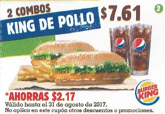 CUPON Burger King el salvador - 2 combos king de pollo - agosto 2017