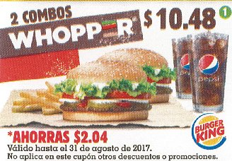 CUPON Burger King el salvador - 2 combos whopper - agosto 2017