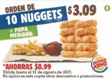 CUPON Burger King el salvador - orden de 10 NUGGETS - agosto 2017